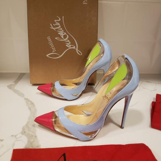 Christian Louboutin Stiletto Pvc Ankle Strap Patent Leather Cupidetta Blue, Pink, Green Pumps Image 6