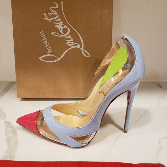Christian Louboutin Stiletto Pvc Ankle Strap Patent Leather Cupidetta Blue, Pink, Green Pumps Image 8