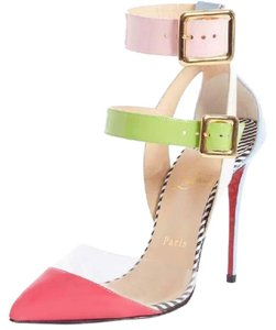 Christian Louboutin Strappy Stripes Buckled Pvc Multi Pink, Blue, Green, White Sandals