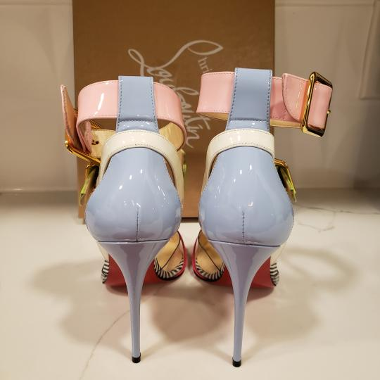 Christian Louboutin Strappy Stripes Buckled Pvc Multi Pink, Blue, Green, White Sandals Image 1