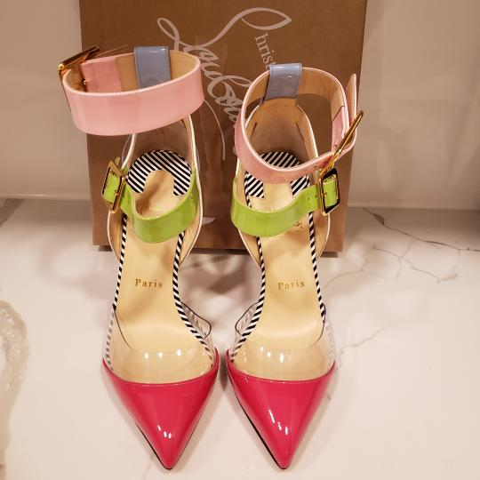 Christian Louboutin Strappy Stripes Buckled Pvc Multi Pink, Blue, Green, White Sandals Image 3