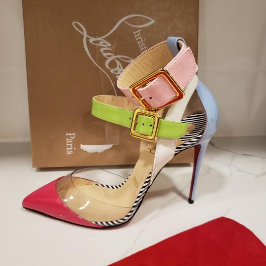 Christian Louboutin Strappy Stripes Buckled Pvc Multi Pink, Blue, Green, White Sandals Image 4