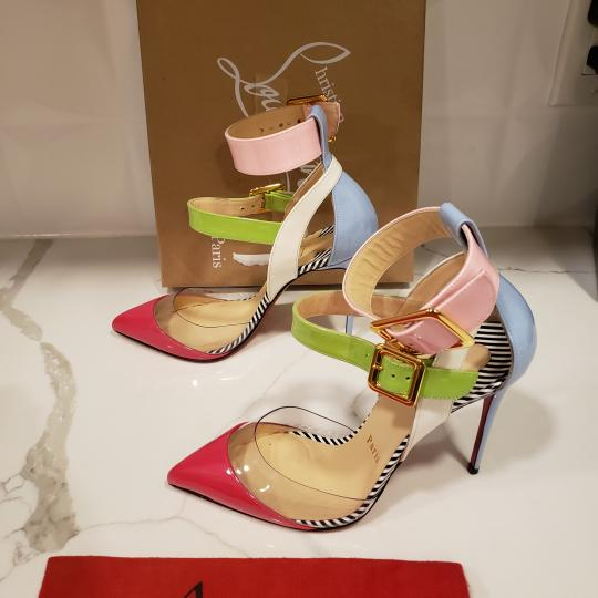Christian Louboutin Strappy Stripes Buckled Pvc Multi Pink, Blue, Green, White Sandals Image 5