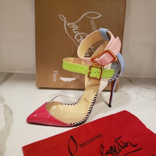 Christian Louboutin Strappy Stripes Buckled Pvc Multi Pink, Blue, Green, White Sandals Image 6