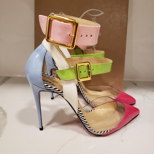 Christian Louboutin Strappy Stripes Buckled Pvc Multi Pink, Blue, Green, White Sandals Image 8