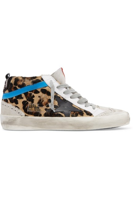 Item - Mid Star Distressed Leopard-print Calf Hair Leather and Suede Sneakers Size EU 38 (Approx. US 8) Regular (M, B)
