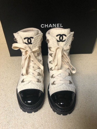 Chanel Ivory/Black Boots Image 4