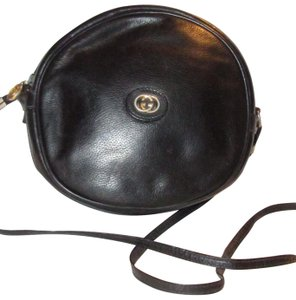 Gucci Rare Round Shape Mint Condition Leather/Gold Rare 'canteen' Edgy Modern Look Satchel in black with gold hardware