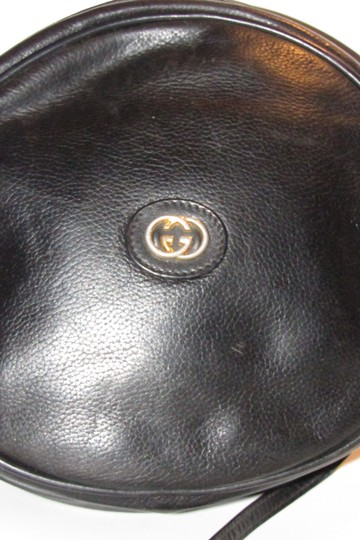 Gucci Rare Round Shape Mint Condition Leather/Gold Rare 'canteen' Edgy Modern Look Satchel in black with gold hardware Image 2