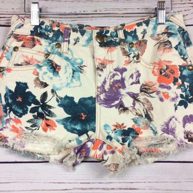 Free People Cut Off Shorts Cream and Teal Image 1