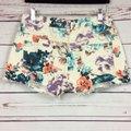 Free People Cut Off Shorts Cream and Teal Image 3