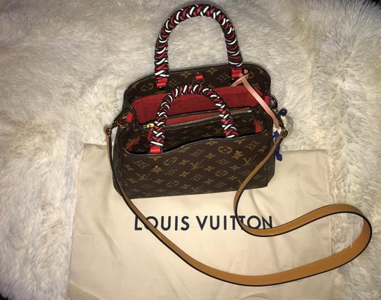 Preload https://item5.tradesy.com/images/louis-vuitton-montaigne-limited-edition-monogram-braided-bb-rare-brown-multi-canvas-satchel-26250674-0-0.jpg?width=440&height=440