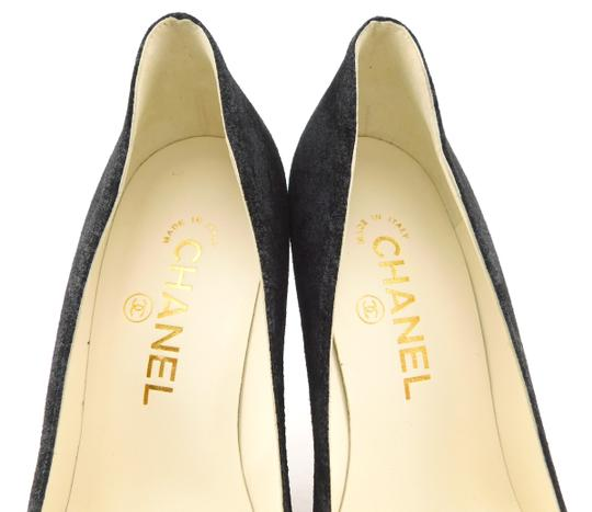 Chanel Cc Logo Coco Pigalle Pointed Romy Textured Black Pumps Image 10