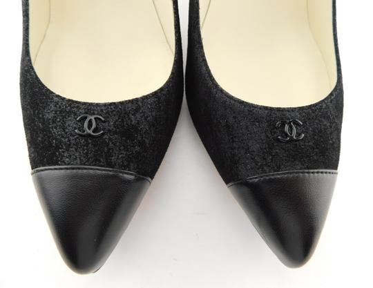 Chanel Cc Logo Coco Pigalle Pointed Romy Textured Black Pumps Image 3