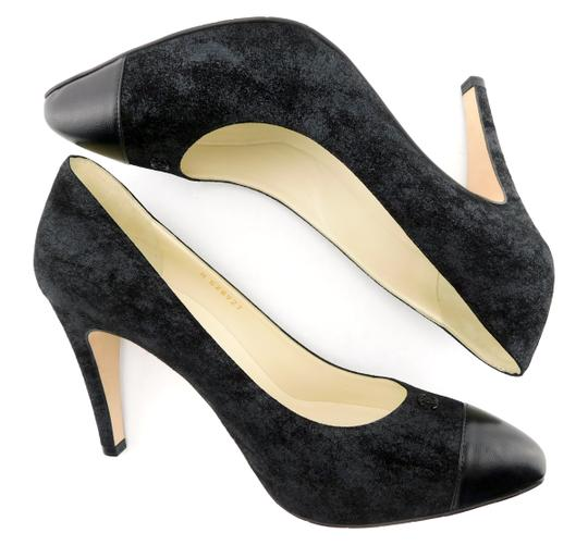 Chanel Cc Logo Coco Pigalle Pointed Romy Textured Black Pumps Image 4