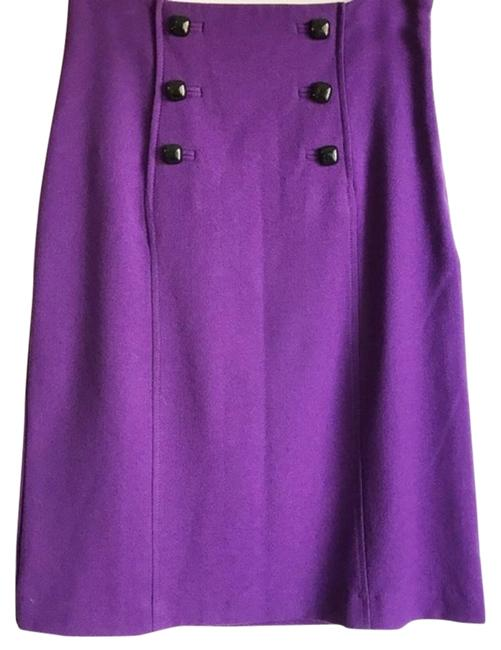 Item - Purple Front Button Wool Pencil Skirt Size 4 (S, 27)