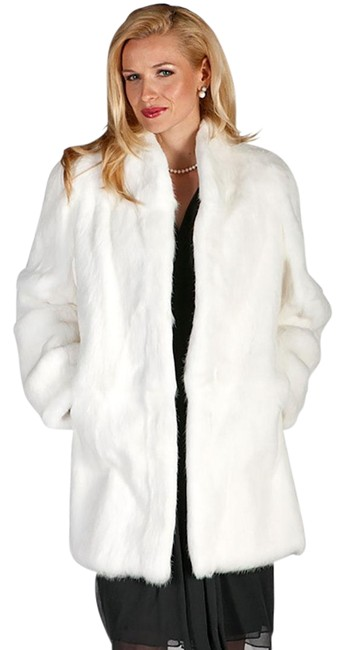 Item - White Mandarin Collar Real Rabbit Jacket Coat Size 8 (M)