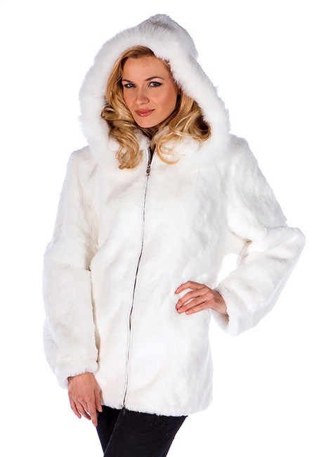 Item - White Hooded Real Rabbit Parka Jacket Coat Size 2 (XS)