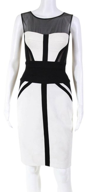 Item - Black/ Ivory Mesh Bodycon Knee Length Mid-length Cocktail Dress Size 6 (S)