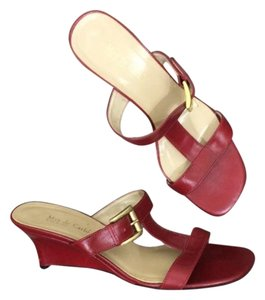 Max de Carlo Square Toe Wedge Gold Hardware Red Sandals