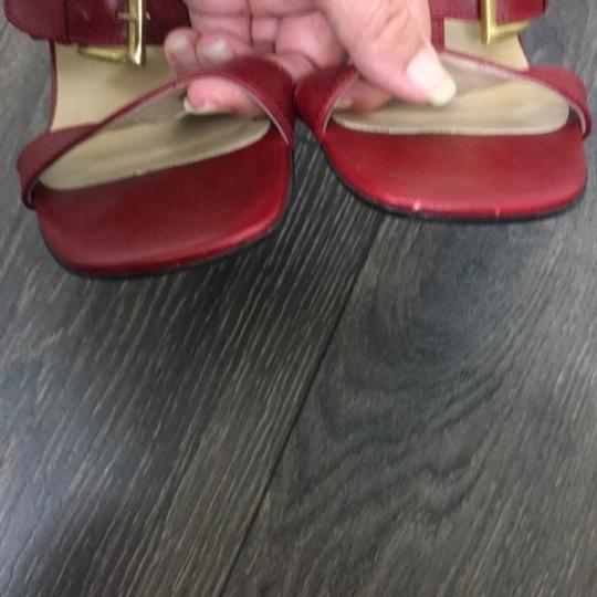 Max de Carlo Square Toe Wedge Gold Hardware Red Sandals Image 5