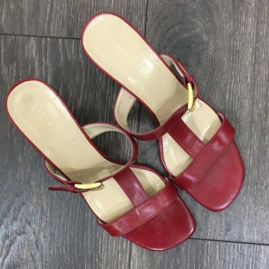 Max de Carlo Square Toe Wedge Gold Hardware Red Sandals Image 7