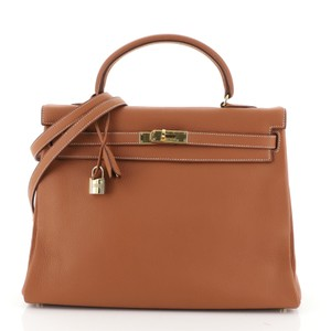 Hermès Kelly Leather Satchel in Brown