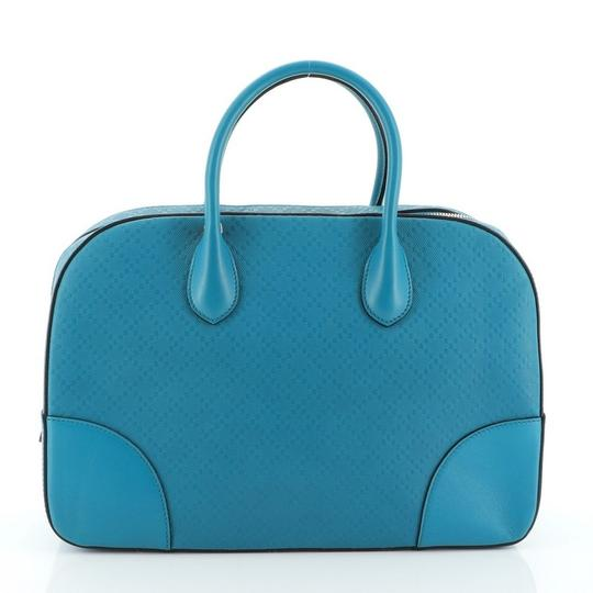 Gucci Leather Satchel in Blue Image 2
