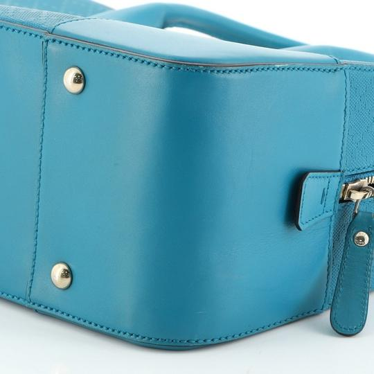 Gucci Leather Satchel in Blue Image 7