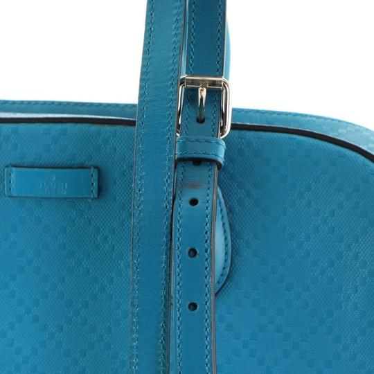 Gucci Leather Satchel in Blue Image 8
