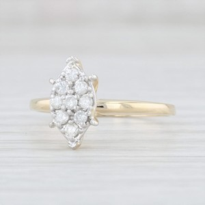 Yellow Gold 0.26 Diamond Cluster - 14k Size 8 Marquise Engagement Ring