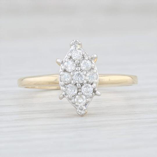 Yellow Gold 0.26 Diamond Cluster - 14k Size 8 Marquise Engagement Ring Image 1