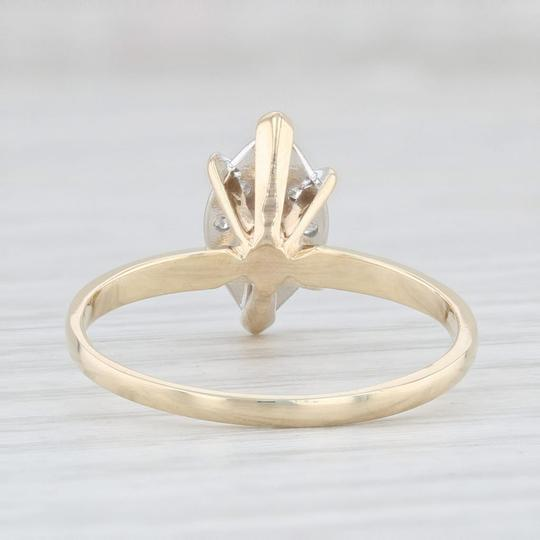 Yellow Gold 0.26 Diamond Cluster - 14k Size 8 Marquise Engagement Ring Image 3