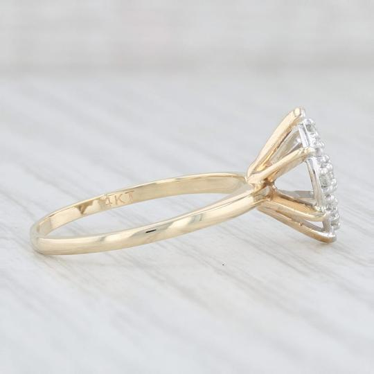 Yellow Gold 0.26 Diamond Cluster - 14k Size 8 Marquise Engagement Ring Image 4