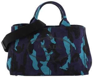 Prada Canvas Tote in Blue and Multicolor