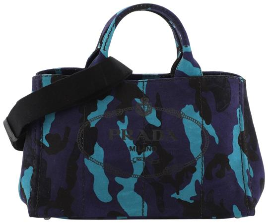 Prada Canvas Tote in Blue and Multicolor Image 0