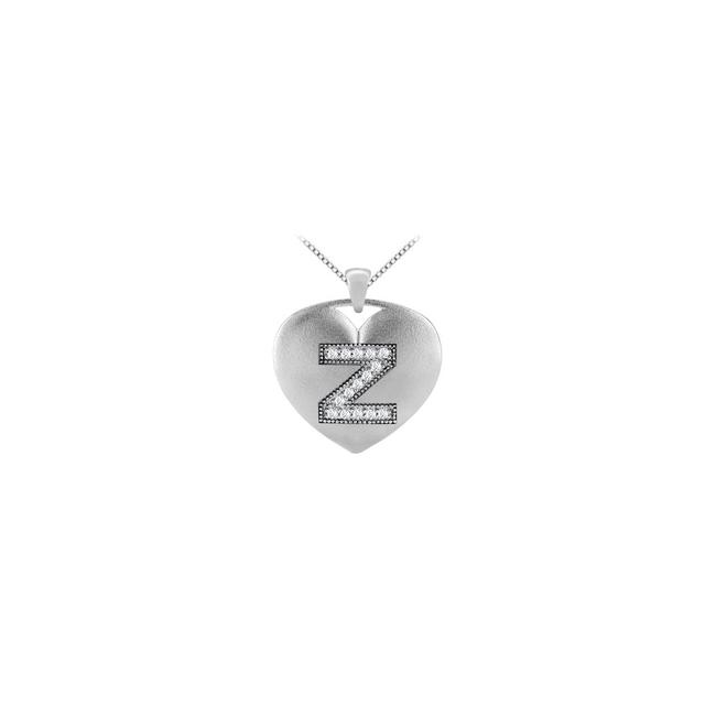 White Diamond Initial Z Heart Pendant with 0.15 Ct Diamonds Gold Necklace White Diamond Initial Z Heart Pendant with 0.15 Ct Diamonds Gold Necklace Image 1