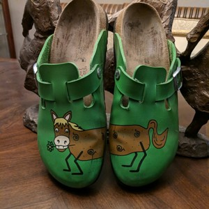 Birki's by Birkenstock Green and brown Mules