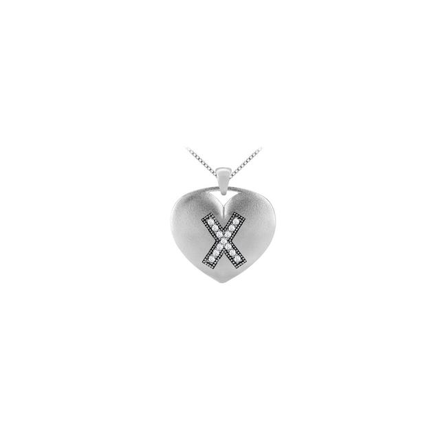 White 14k Gold Heart Pendant In Diamonds Initial X with 0.13 Carat Tdw Necklace White 14k Gold Heart Pendant In Diamonds Initial X with 0.13 Carat Tdw Necklace Image 1