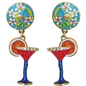 Ritzy Couture by Esme Hecht Pool Party Cocktail Glass Multi Color Dangle (Goldtone) Clip