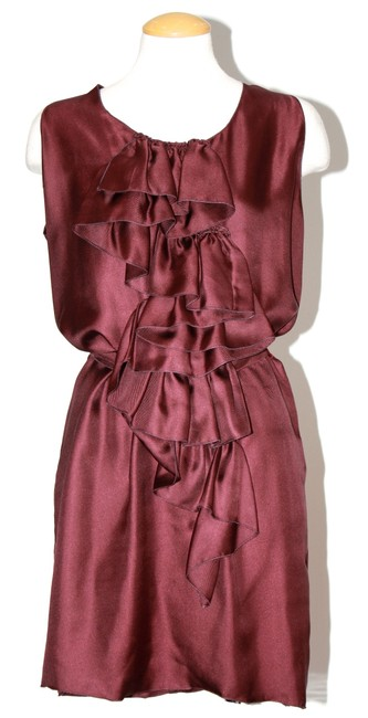 Missoni Burgundy Silk Ruffled Cocktail Dress Size 6 (S) Missoni Burgundy Silk Ruffled Cocktail Dress Size 6 (S) Image 1