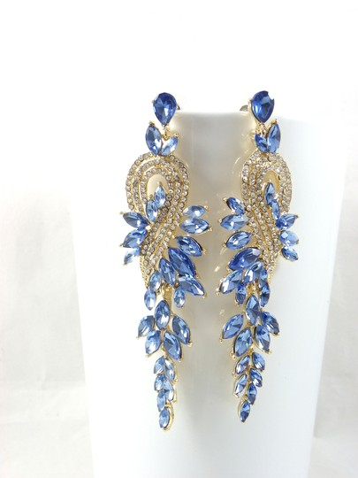 Light Sapphire Crystal Gold Finished Chandelier Earrings Image 1