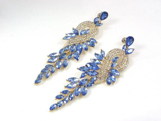 Light Sapphire Crystal Gold Finished Chandelier Earrings Image 3