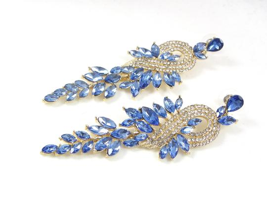 Light Sapphire Crystal Gold Finished Chandelier Earrings Image 6