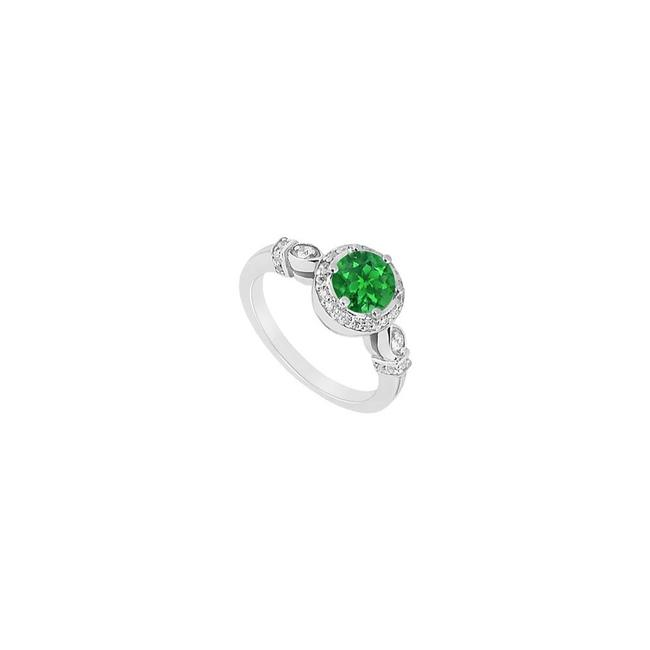 Green Prong Set Created Emerald and Cubic Zirconia Engagement Ring Green Prong Set Created Emerald and Cubic Zirconia Engagement Ring Image 1