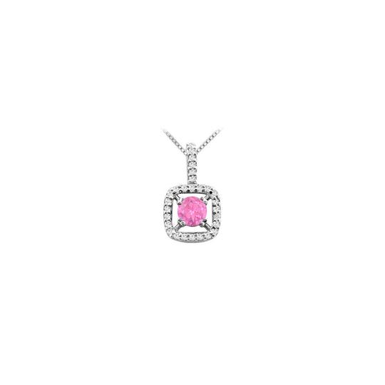 Preload https://img-static.tradesy.com/item/26252060/pink-created-sapphire-pendant-in-14k-white-gold-with-cubic-zirconia-2-necklace-0-0-540-540.jpg