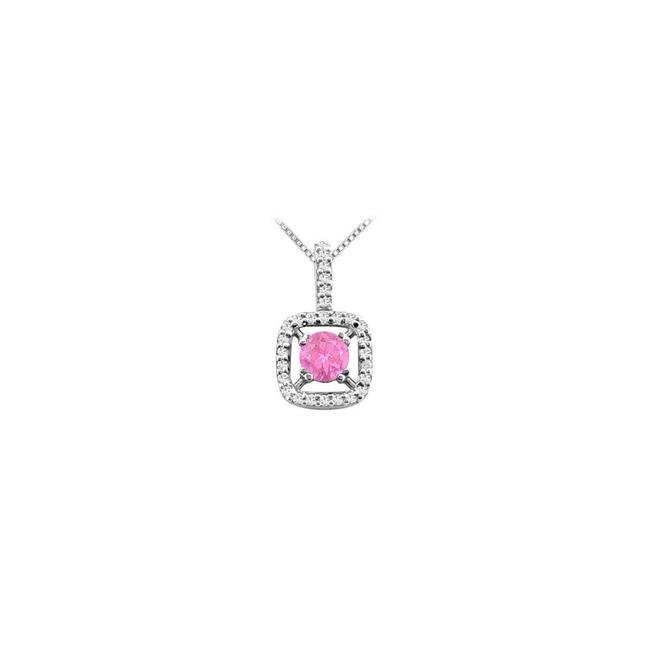 Pink Created Sapphire Pendant In 14k White Gold with Cubic Zirconia 2. Necklace Pink Created Sapphire Pendant In 14k White Gold with Cubic Zirconia 2. Necklace Image 1