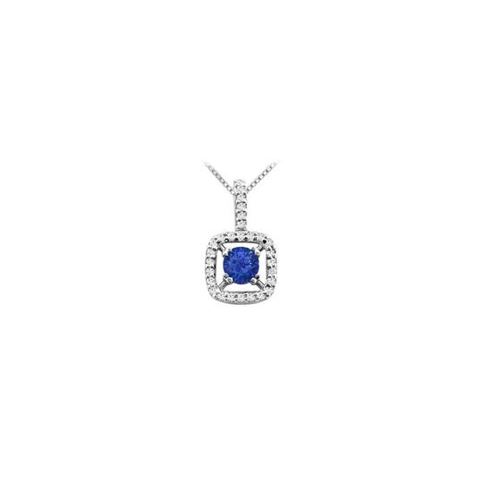 Preload https://img-static.tradesy.com/item/26252061/blue-round-created-sapphire-pendant-in-14k-white-gold-prong-set-necklace-0-0-540-540.jpg