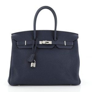 Hermès Birkin Leather Satchel in Blue