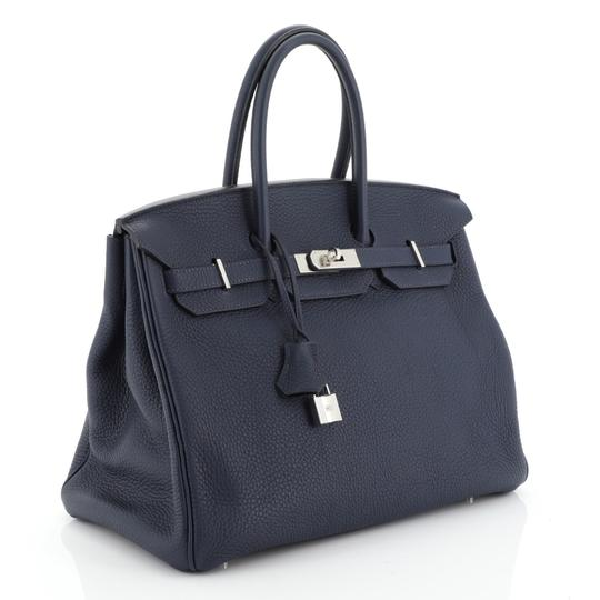Hermès Birkin Leather Satchel in Blue Image 1